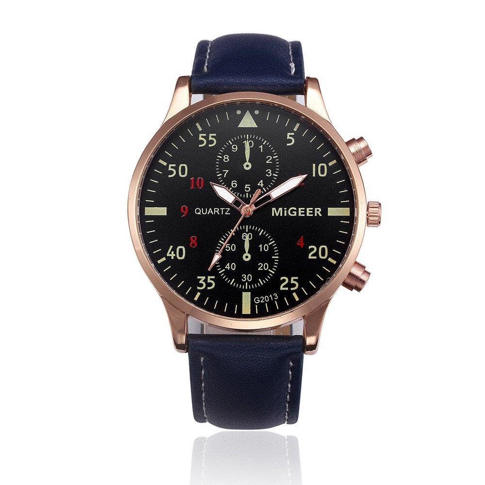 メンズクォーツ腕時計、ホットキーメンズレトロデザインファッションビジネスクォーツ腕時計PUレザーストラップクロノグラフ防水日付表示アナログスポーツWrist Watches for Men ブルー B074DX9CKR ブルー ブルー