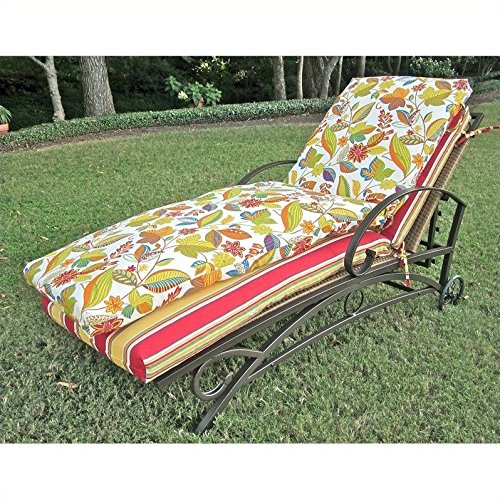 Blazing Needles Outdoor Patio Chaise Lounge Cushion - Freeport Ebony by Blazing Needles
