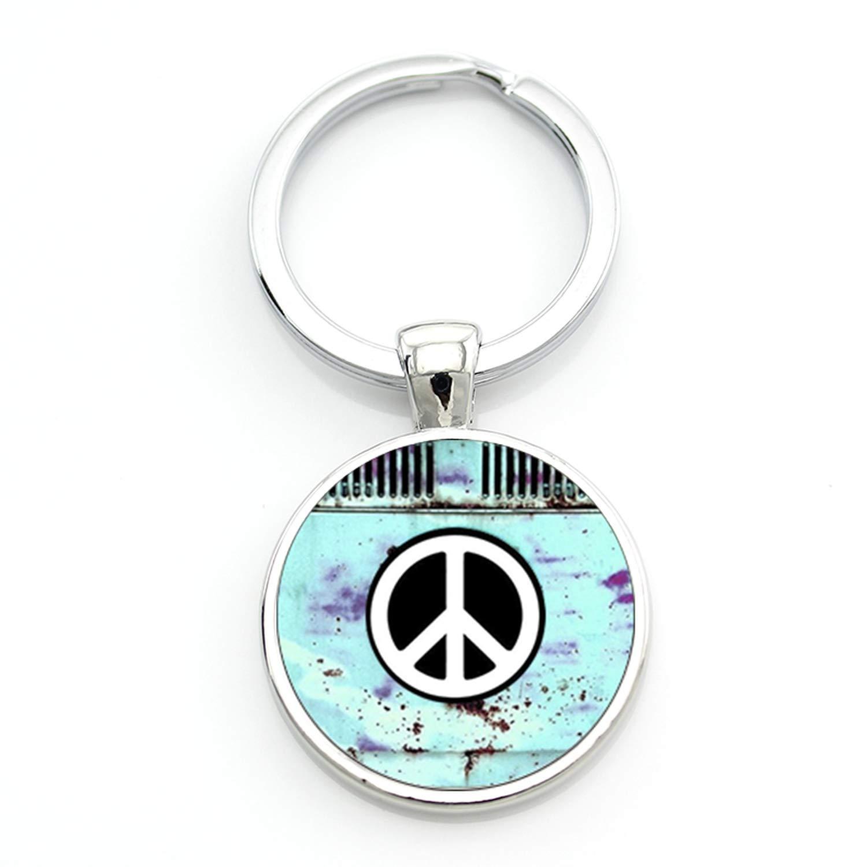 Vintage Hippie - Llavero con símbolo de la paz para hombres ...