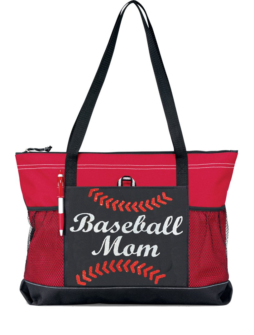 Glitter Baseball Momトートバッグ。Silver Glitter with Red Glitter野球Stitches on a large redトートバッグ B01N5UU6NX