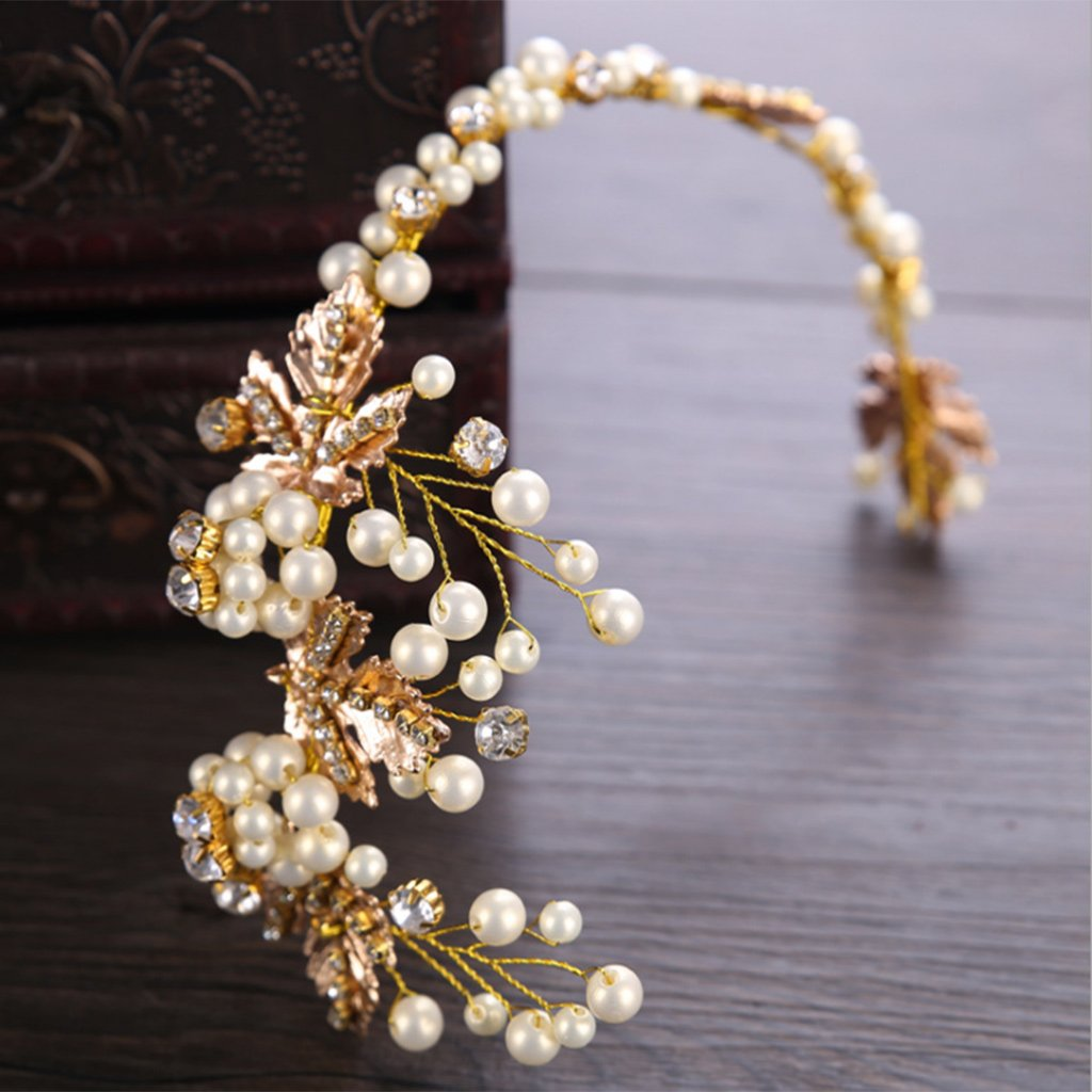 Fogun Bride Hair Band Golden Headband Wedding Bridal Pearl Accessories Tiara Ornaments