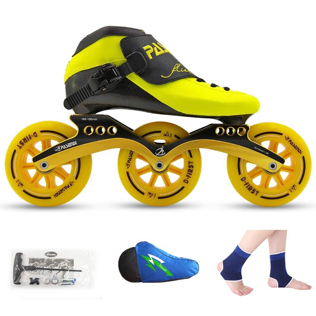 LIUXUEPING ローラースケート、 スピードスケート靴、 レーシングシューズ、 子供の大人のプロスケート、 男性と女性のインラインスケート (色 : Black shoes+black wheels, サイズ さいず : 37) B07GJQNGH6 40|Yellow shoes+yellow wheels Yellow shoes+yellow wheels 40