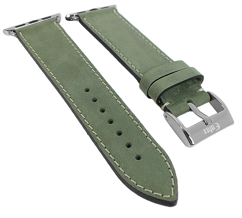 Minott | Uhrenarmband passend zu Apple Watch 38mm - Leder 29946 - Farbe:grÜn