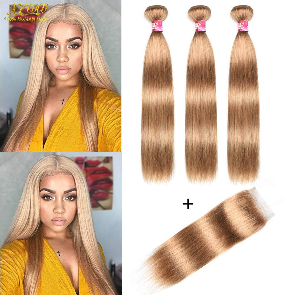 XCCOCO Hair Honey Blonde 3 Bundles Peruvian Silk Straight Hair with 4x4 Lace Closure Cheap 8A Pure Blonde Color 27# Remy Virgin Human Hair Bundles with Closure(16 18 20inch+14inch Closure) by xccoco