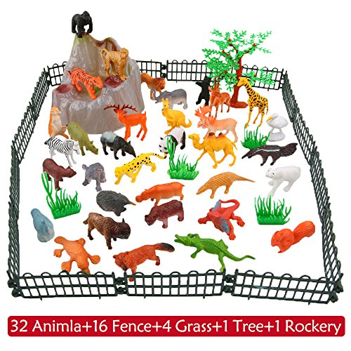 Animals Figure,54 Piece Mini Jungle Animals Toys Set With Gift Box,ValeforToy Realistic Wild Animal Learning Party Favors Toys For Boys Girls Kids Toddlers Forest Small Farm Animals Toys Playset by ValeforToy (Image #3)