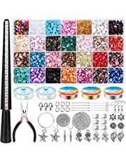 Crystal Stone Beads Kit for Ring Making,1626 PCS Irregular Natural Gemstone Chips Jewelry Making Kit with Ring Sizer Jewelry Wire Bracelet Strings Pedant Charms Earring Supplies for DIY Art Crafts