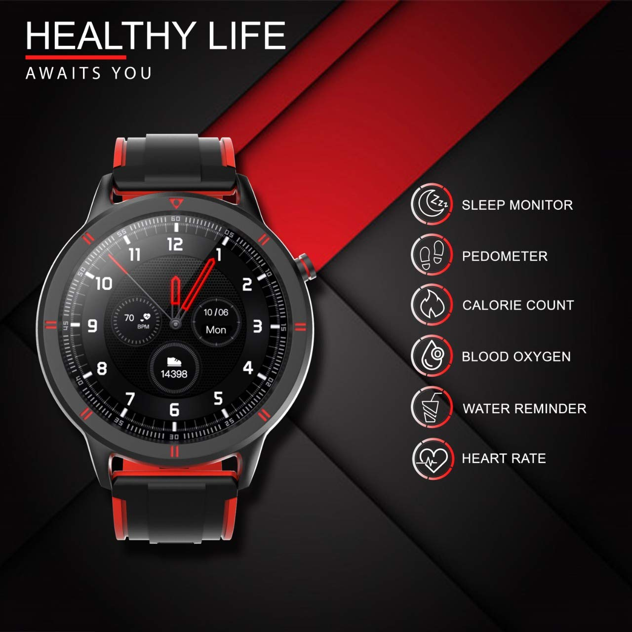 Amazon.in: Buy AQFIT W15 Fitness Smartwatch Activity Tracker| Waterproof |  4.2 Bluetooth | Metal Case | Full Touch Screen Display | for Men and  Women(Red, Black) Online at Low Prices in India |