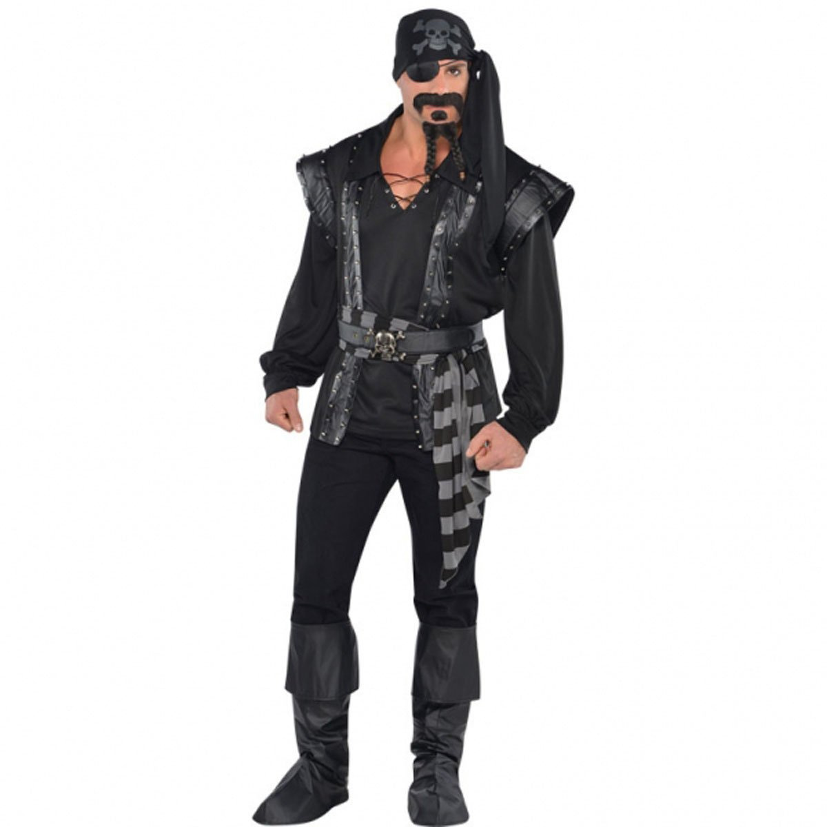 Adult Dark Sea Scoundrel Pirate Buccaneer Costume Set with All Black Doublet Style Pirate Vest, Attached Shirt, Faux Leather Belt, a Skull and Crossbones Print Bandana, and Black And Gray Striped Waist Sash - DeluxeAdultCostumes.com