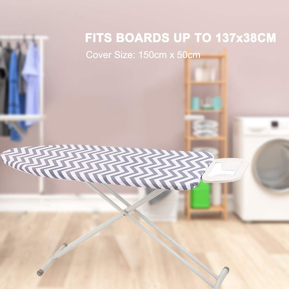 Slashes Your Iron Time Ironing Board Cover with Heat-Reflective 2-Layers Cotton Pad for Scorch /& Staining Resistant Fit 15 X 54 Board iiSPORT Ironing Board Cover Thick Padding