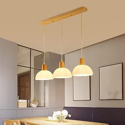CHC Lámpara de comedor de madera maciza de estilo nórdico 1 ...