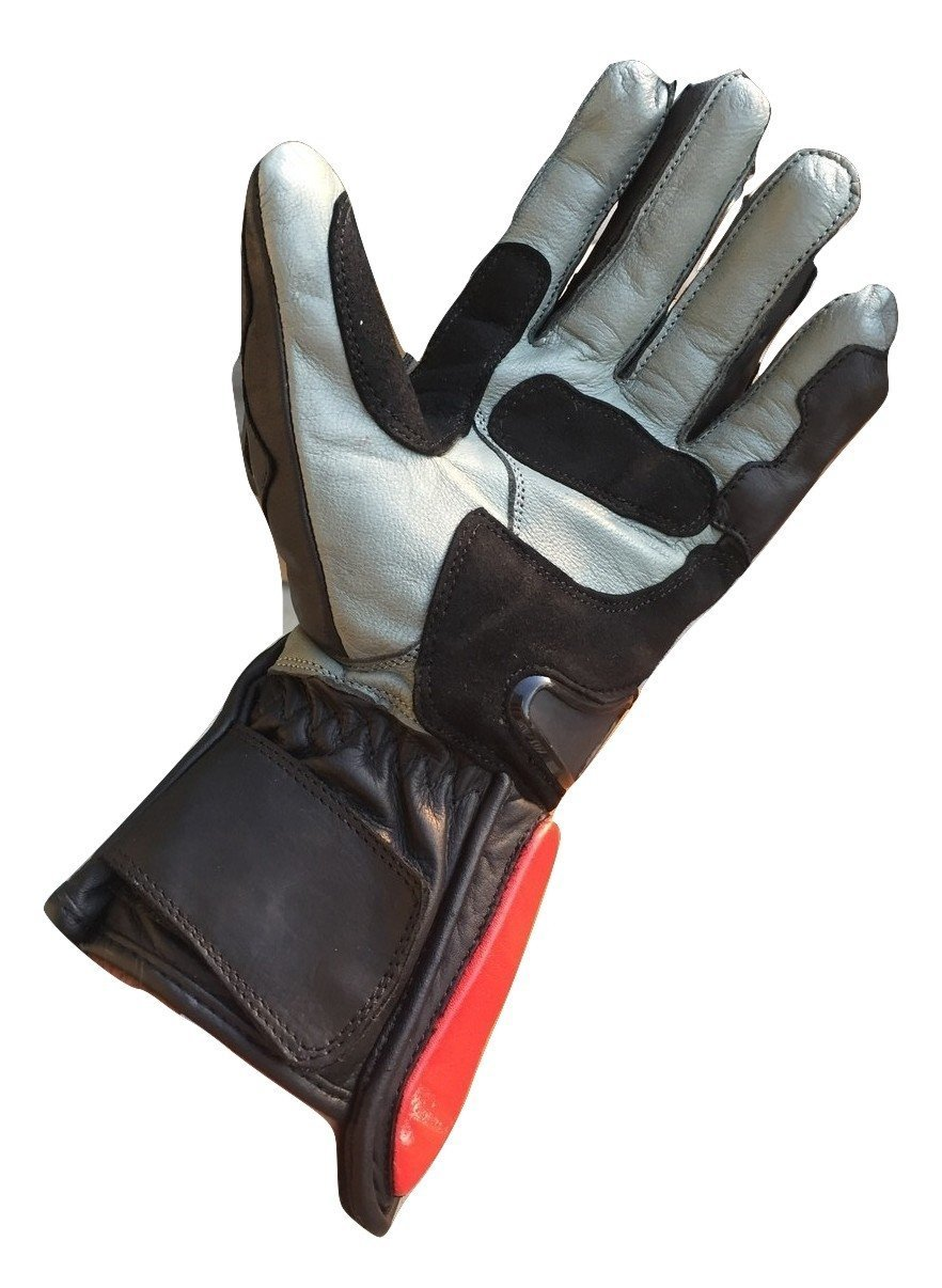 BMA Supplies XXX-Large Motorcycle Motorbike New Red Cowhide Leather Touch Sense StreetBike Racing Gloves TPU Armor Knuckles