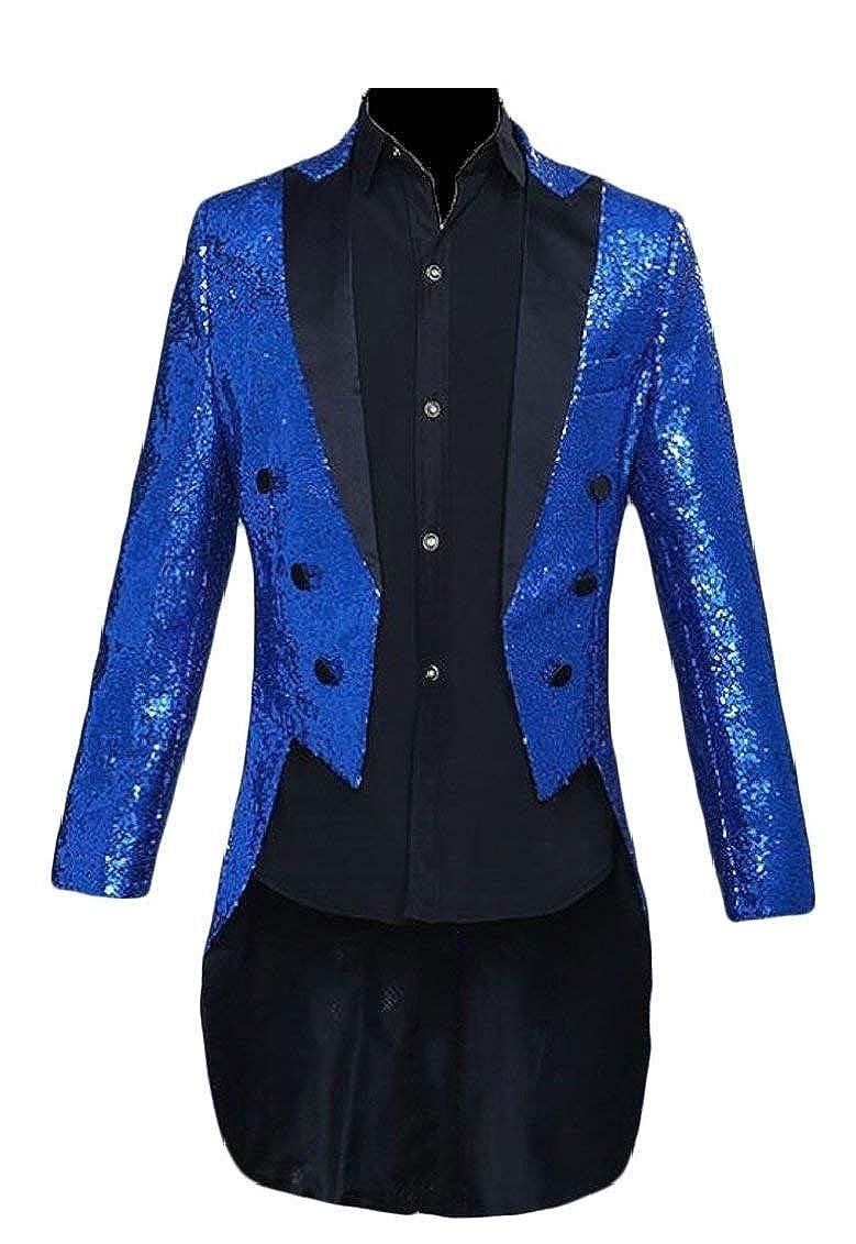HaiDean Men's Blazer Slim Fit Tuxedo Elegant Blazer Wedding Modern Casual Vintage Men's Suit Jacket Sequined Festival Long Sleeve Coat Suit Jacket Cocktail None