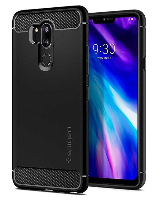 Spigen [Rugged Armor Funda LG G7 ThinQ con Absorción de Choque Flexible y Duradera con diseño de Fibra de Carbono para LG G7 ThinQ (2018) - Negro