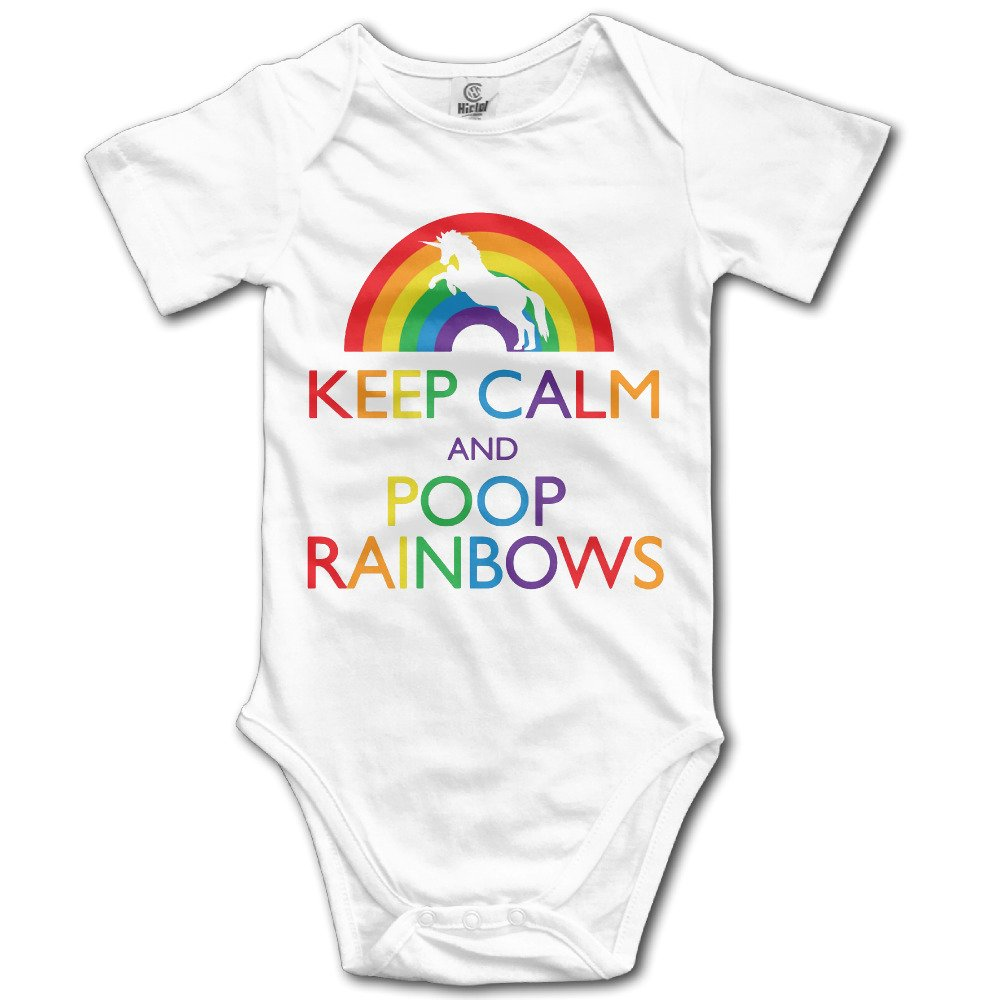 Boss-Seller Keep Clam And Poop Rainbows Short Sleeve Romper Jumpsuit For 6-24 Months Infant White