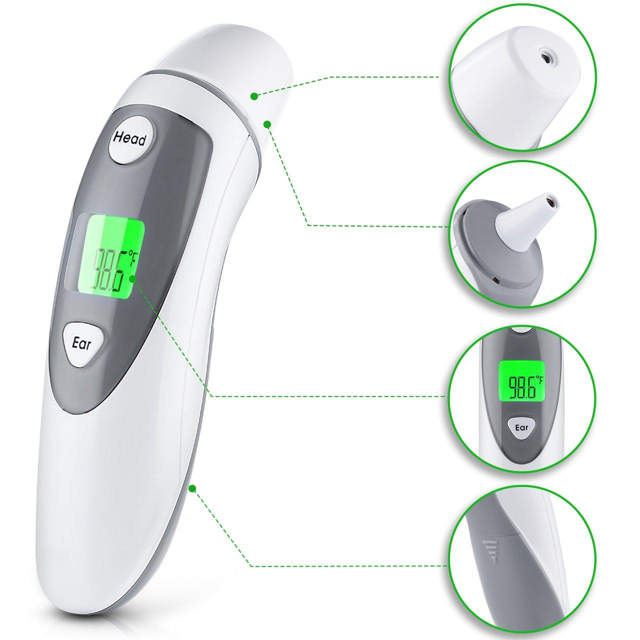 lismile frente y Oído infrarrojo Termómetro, termómetro digital para bebé de niños y adultos, genehmigt de CE & FDA, rápida y precisa mediciones, ...