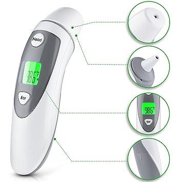 Mpow Termómetro Digital de Frente y Oido,Termómetro Clínico Digital,Infrarrojo Aprobado por FDA y CE Profesional,Función de Memoria, Bebés,Niños y Adultos: ...