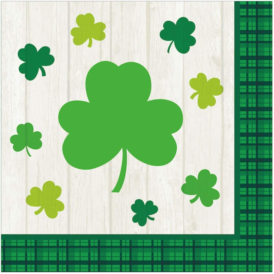 Iconikal Disposable Dinner Paper Party Napkins, Irish Shamrock, 85-Count