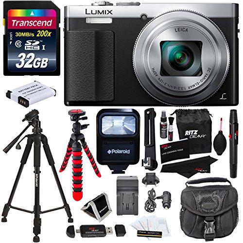 Panasonic DMC-ZS50S LUMIX 30X Travel Zoom Camera with Eye Viewfinder Silver + Transcend 32 GB Class 10 + Polaroid 57