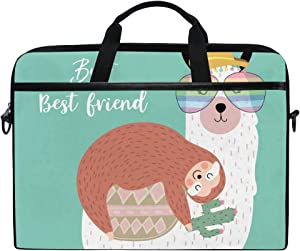 ALAZA Cute Sloth Llama Friends Mint Green Laptop Case Bag Sleeve Portable/Crossbody Messenger Briefcase Convertible w/Strap Pocket15-15.4 inch, Back to School Gifts
