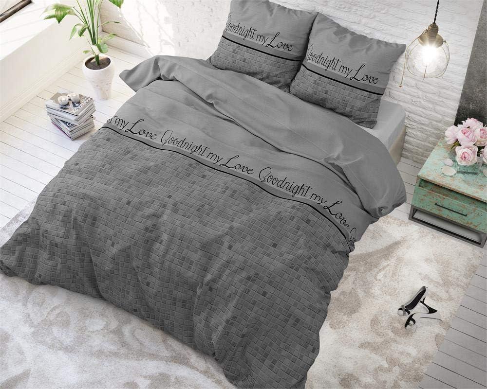 SleepTime Funda Nórdica Algodón Buenas Noches Mi Amor, 240cm x 220cm, 2 Personas, Cama 150/160, Avec 2 taie d'oreiller 60cm x 70cm, Gris