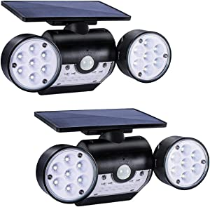 TEQStone Solar Motion Sensor Light Outdoor 2 Pack, Security Lights Dusk-to-Dawn, Rotatable Dual Head, Wireless IP65 Waterproof, LED Wall Light for Patio, Garage and Garden