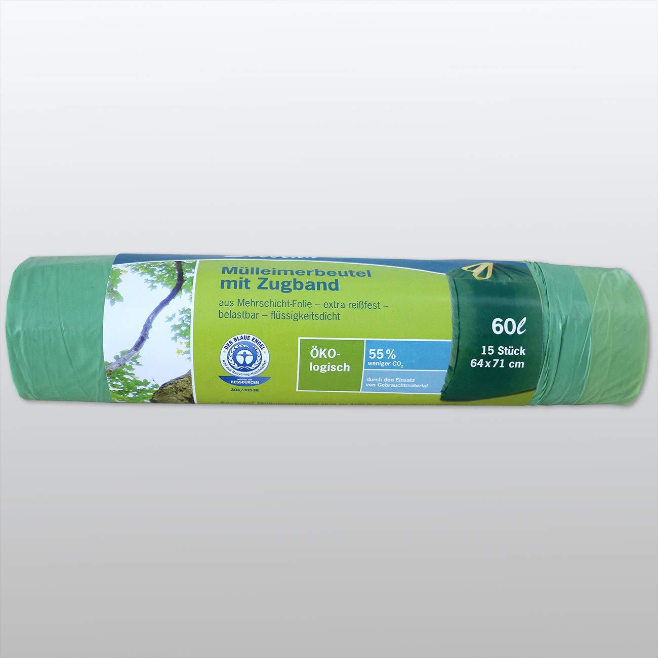 ✓extra rei/ßfest ✓wasserdicht ✓100/% recyclingf/ähig mit Zugband Papyrus 2039917 M/üllbeutel//M/üllsack Secolan 60l gr/ün 1 Rolle//15 St.