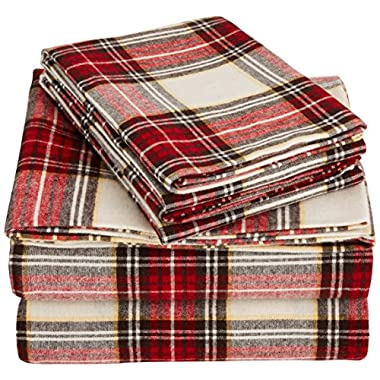 AmazonBasics Yarn-Dyed Lightweight Flannel Sheet Set - Queen, Cream/Red Plaid
