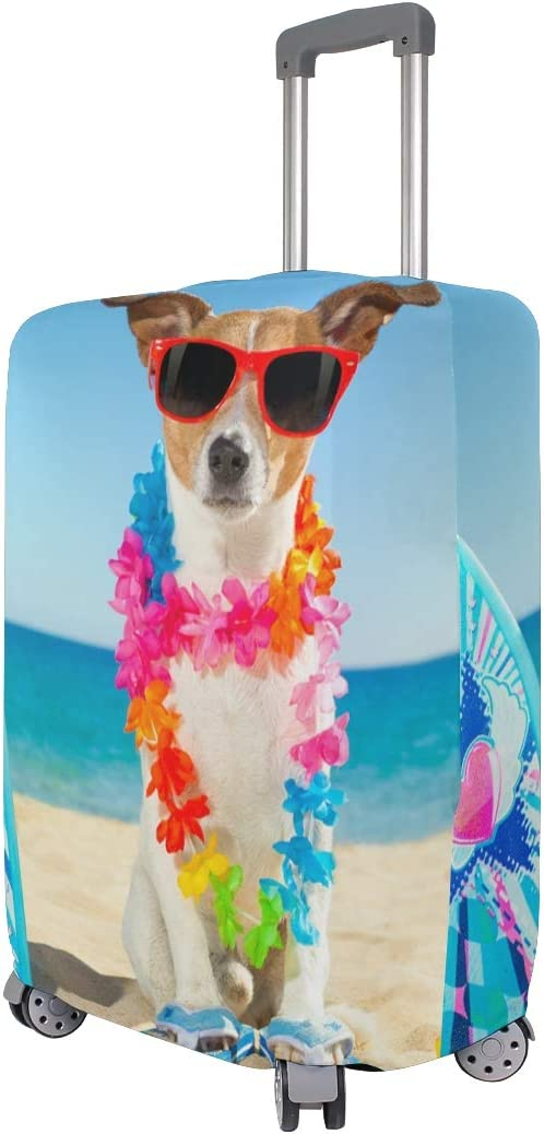 Hawaiian Style Jack Russell Dog Print Fashion Creative Design Anti-Scratch Stretchy Travel Suitcase Protector Baggage Covers S 18//20//24//28//32 Inch Spandex Travel Luggage Cover