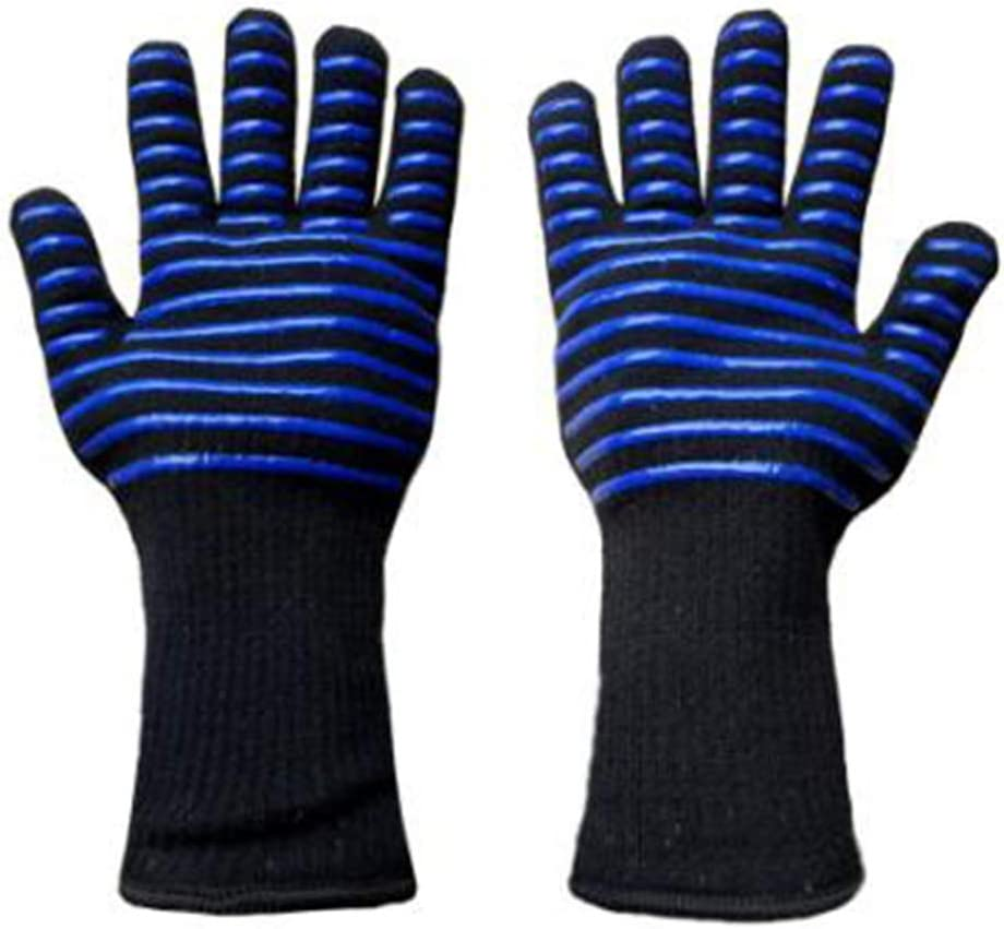 ProtectionShTa Aramid Oven Mittens Popular Red-Blue Stripe Silicone Barbecue Gloves for Outdoor Camping Kitchen Mitts 1 Pair Blue