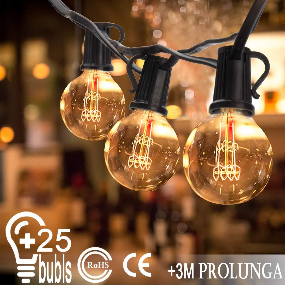 Catena di lampadine da esterno Illuminazione Giardino Luci Stringa con 25 G40 Bulbi 7.62m (3 m cavo di prolunga impermeabile e 2 bulbi di ricambio) per Matrimonio/Natale/ Halloween/Cortili/Festa [Classe di efficienza energetica A] Ming kun