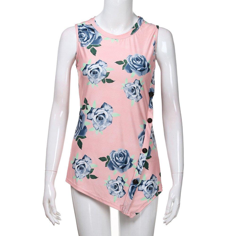 DaySeventh Summer Deals 2019 Women Summer Print Sleeveless Round Neck Button T-Shirt Tank Top Blouse