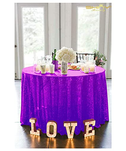 Tablecloths 156Inch Purple Round Linen Tablecloth Royal Purple Sequin  Fabric Table Skirt ~0919S