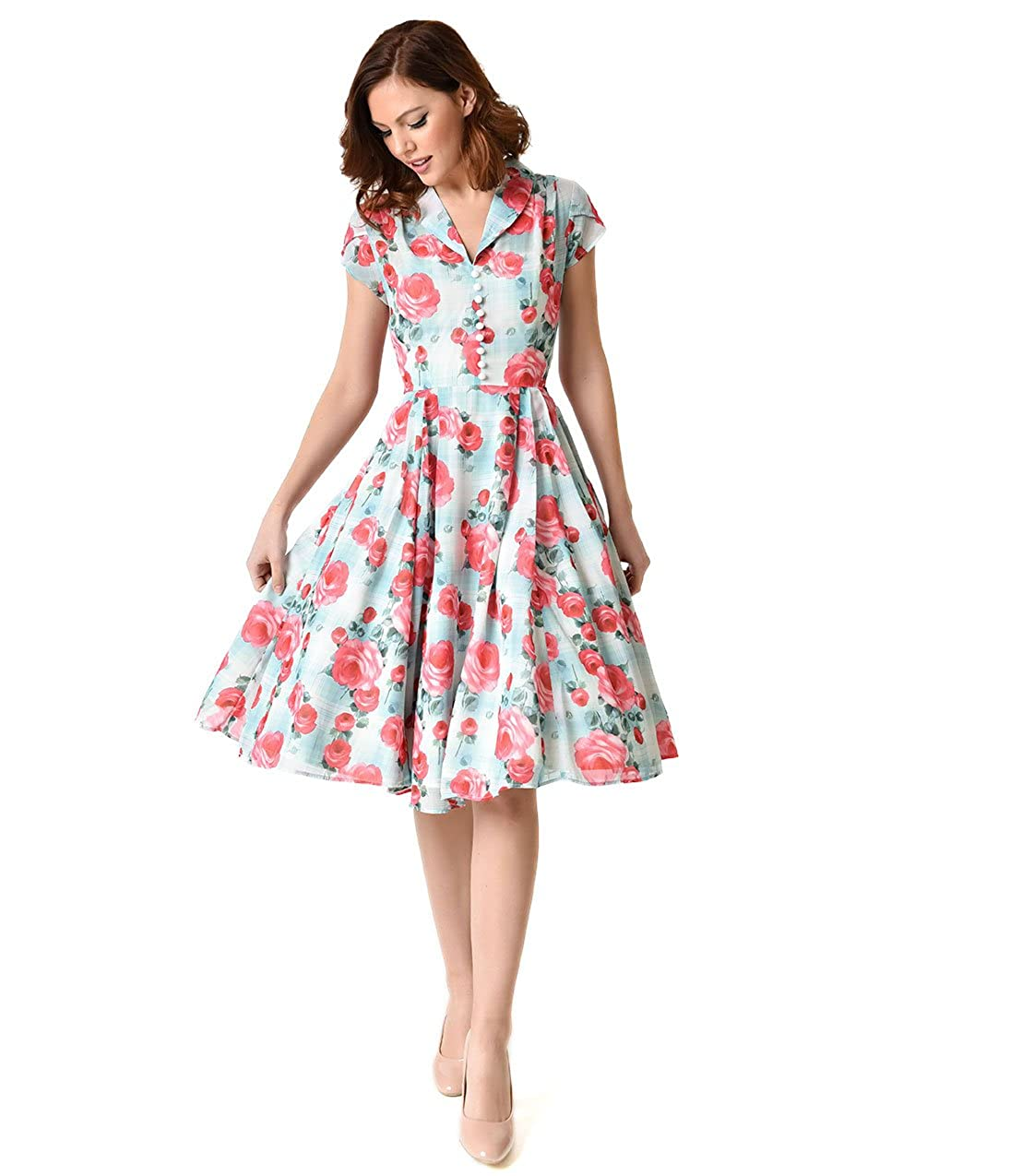 b493f64aedd21 Unique Vintage Hell Bunny 1950s Mint Floral Cap Sleeve Suzannah Chiffon  Swing Dress at Amazon Women's Clothing store: