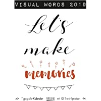 Visual Words 2019: Großer Typo-Art Kunstkalender mit 12 Trend-Sprüchen. Wandkalender im Poster Format mit edlem Kupferfarbendruck.