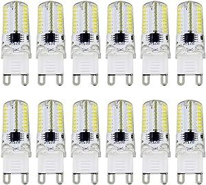MD Lighting 2.5W G9 LED Corn Light Bulbs(12 Pack)- 64 LEDs 3014SMD 200 Lumen Daylight White 6000K Replacement 20W Equivalent Halogen Bulbs for Home Lighting, Dimmable, AC 110V