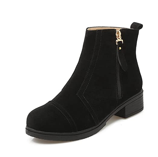 Women's Frosted Zipper Round Closed Toe Kitten Heels Solid Boots