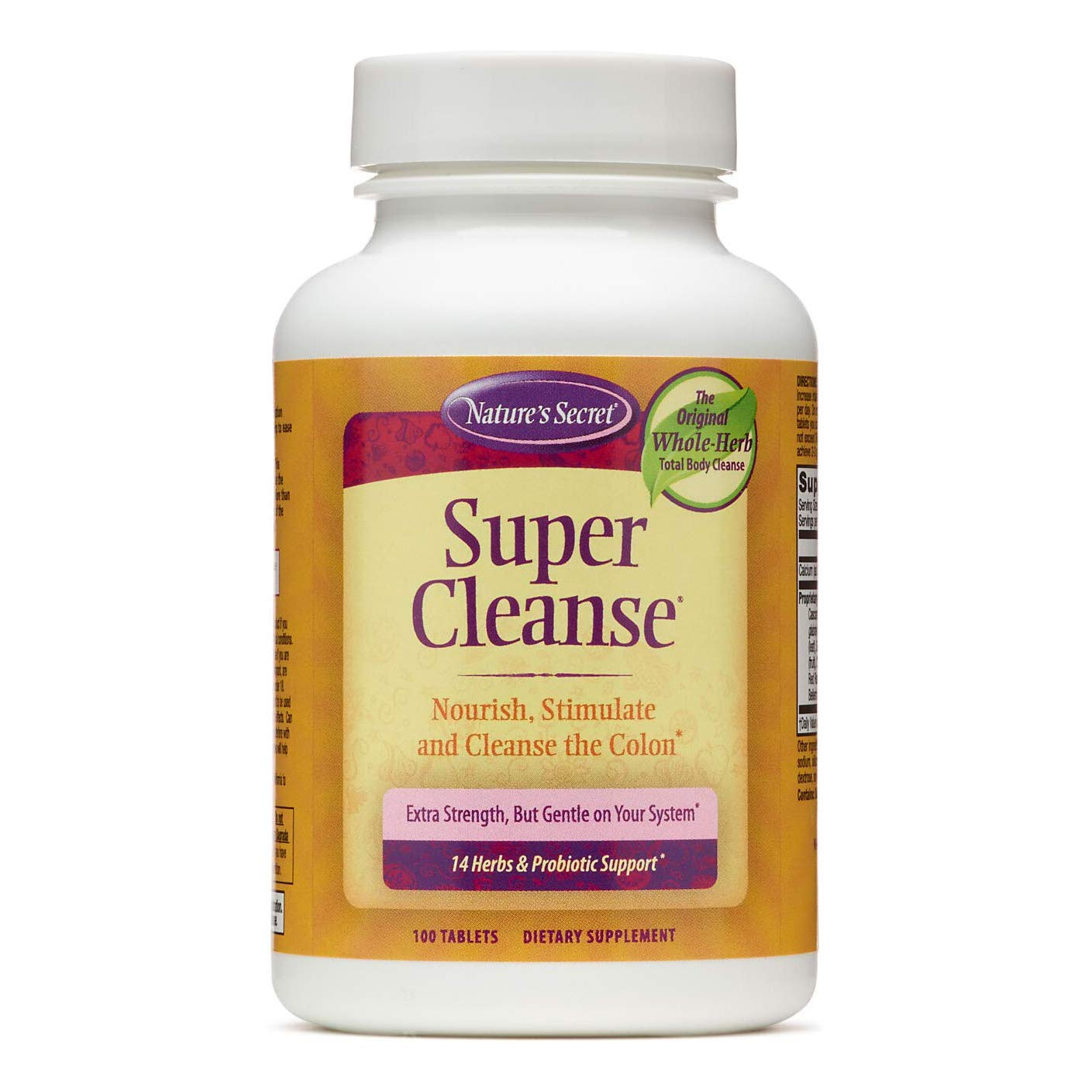 Nature's Secret Super Cleanse Extra Strength Toxin Detox & Gentle Elimination Total Body Cleanse, Digestive & Colon Health Support - Stimulating Blend of 14 Herbs with Probiotics - 100 Tablets