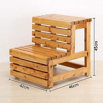 hmjv Escalera Soporte con repisa Escalera para el hogar Taburete Taburete de madera maciza de dos escalones Taburete de doble uso Escalera ascendente Escalera de peldaño,A: Amazon.es: Bricolaje y herramientas