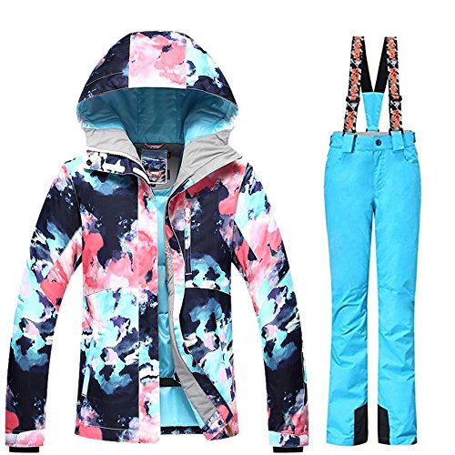 (Women's Ski Bib Suit Jacket Waterproof Snowboard Colorful Printed Ski Jacket and Pants Set)