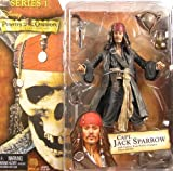 (US) NECA Pirates of the Caribbean Captain Jack Sparrow Figure Series 1 With Compass Rum Bottle Pistol Hat