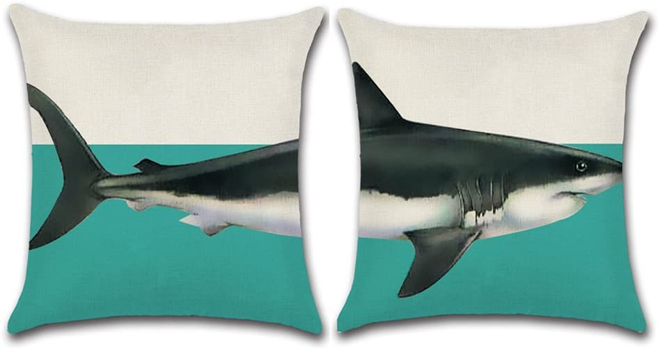 Aremazing Sea Animal Throw Pillow Cover Set of 2 Ocean World Shark Pattern Cotton Linen Home Decor Throw Pillow Case Cushion Cover 18 x 18 Inches (Shark)
