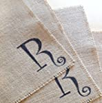 Custom Farmhouse style Monogramed Burlap Placemats set of two personalized place mats