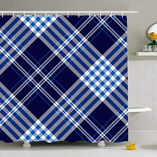 - Ahawoso Shower Curtain 72x78 Inches Rustic Blue Nautical Plaid Check Pattern Dark Tartan Navy Cobalt Graphic Abstract Border Checker Waterproof Polyester Fabric Set with Hooks