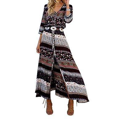4ab36963c70df Luckyauction Women's Bohemian V Neck 3/4 Sleeve Floral Printed Button Long  Maxi Dress