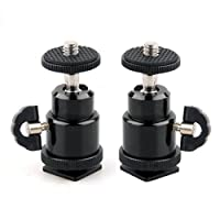 "Eggsnow 1/4"" Mini Ballhead Camera Ball Head Tripod Mount With Hot Shoe Adapter for DSLR Camera (21.5)-2pcs"