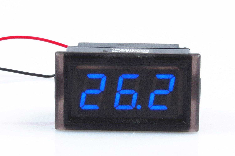 Waterproof Monitor 2-Wires DC 3.5-150v 12v 24v 36v 72v 96v Volt Battery Meter Voltage Tester Automative Electric Cars Gauge Small Digital Voltmeter BLUE 0.52'' LED Display by TOFKE (Image #3)