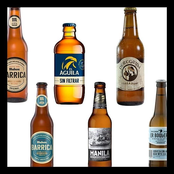 Pack de Cervezas Originales Mahou Barrica 33cl - mahou Barrica Bourbon 33cl - El Aguila Sin Filtrar 33cl - San Miguel Manila 33cl - Peregrina 33cl - Er Boqueron 33cl: Amazon.es: Alimentación y bebidas