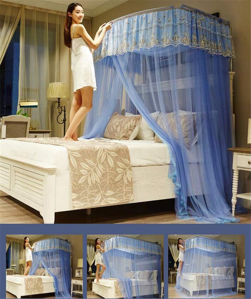 Retractable u-Type Mosquito net Double Bed net Palace net Outdoor Mosquito net Travel Mosquito net Mosquito net, Blue, L (120-245Adjustment) W200cm by RFVBNM Mosquito net (Image #5)