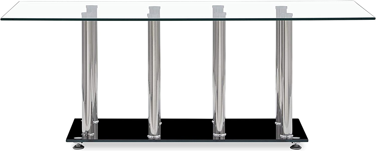 Global Furniture Clear/Black Occasional Coffee Table with Stainless Steel Legs