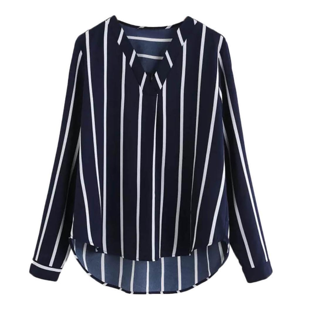 Women Long Sleeve Stripe Chiffon Blouse V-Neck Loose Casual Shirt High Low Top(Navy,Small)